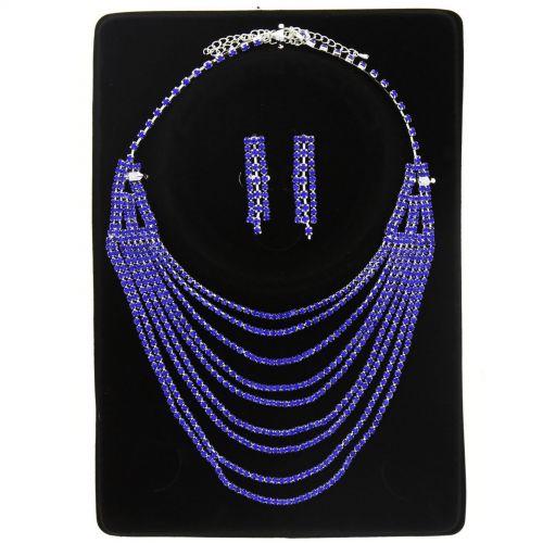 Parrure Collier et Boucles d'oreilles FEIROUZ Bleu cyan - 9938-32453