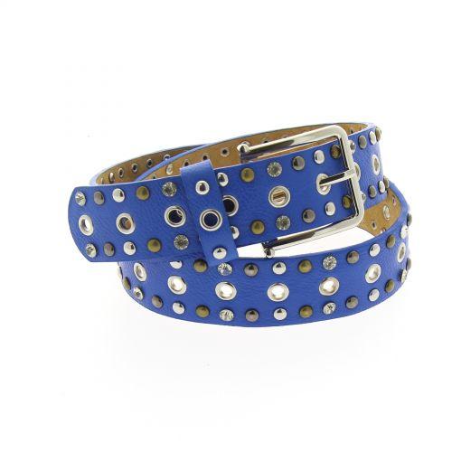 Ceinture cuir strass et rivets KATARZYNA Bleu - 9166-32909