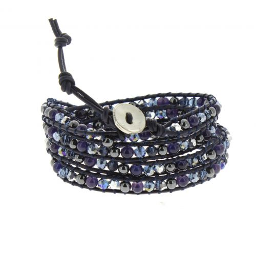 Bracelet cuir chanluu Cristal Chayna