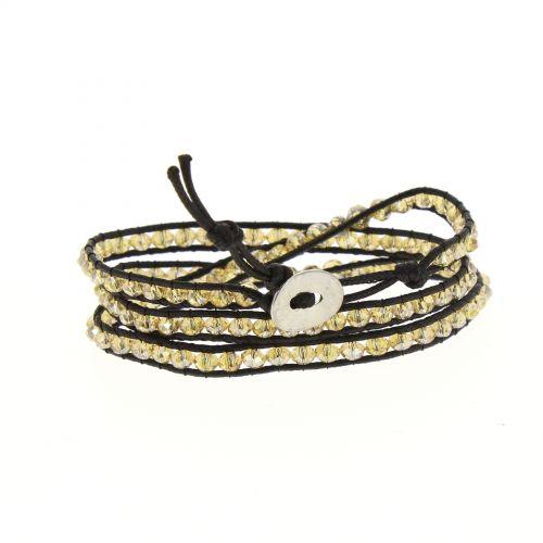 Bracelet ethnique, cristral tressé à cordes