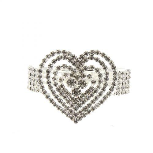 Bracelet manchette strass cœur 6423