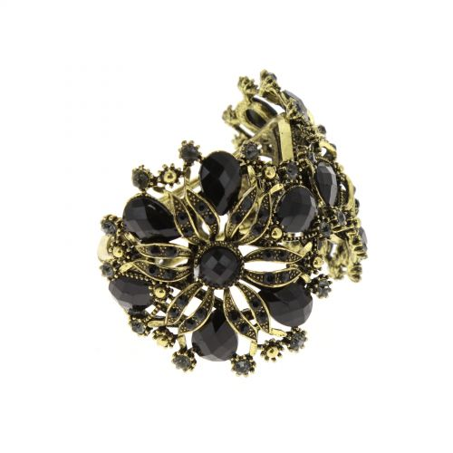 Bracelet manchette métal fleur AMABILIA