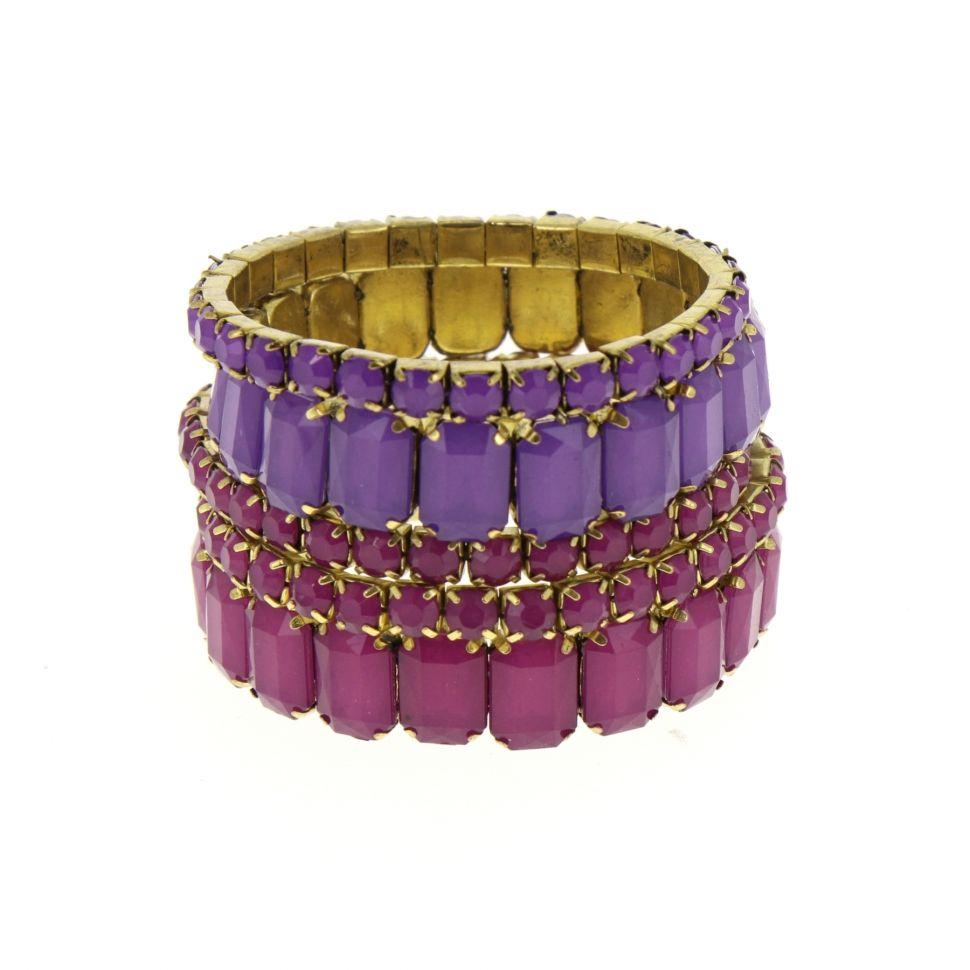 Bracelets extensible XL STRASS 5 pièces Violet - 5217-33763