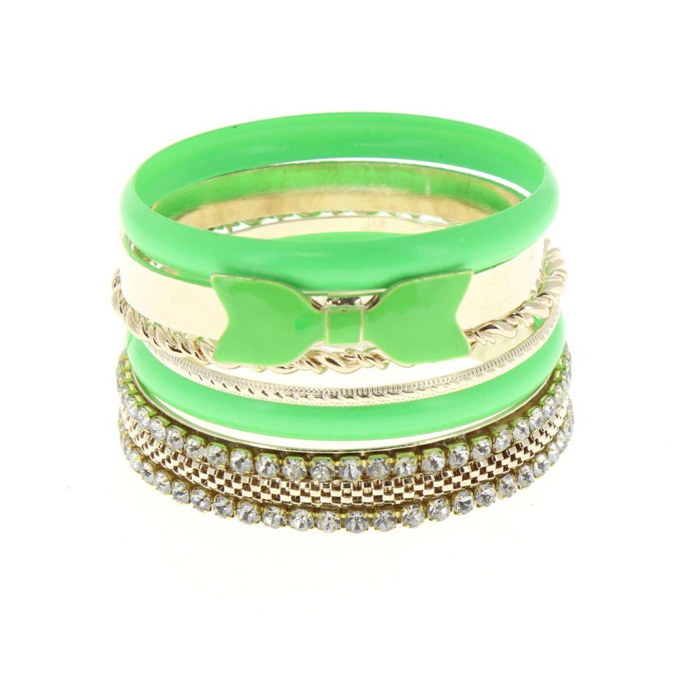 Bracelets 6 bangles Vert fluo - 4962-33767
