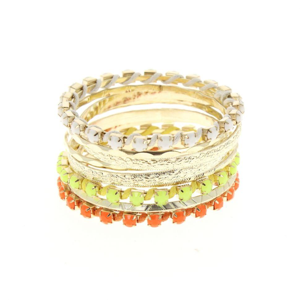Bracelets 10 bangles Doré (Blanc) - 4956-33771