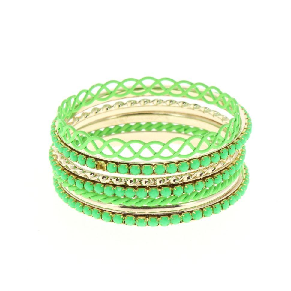 Bracelets de 8 Bangles Couleur FLUO Vert fluo - 1994-33781