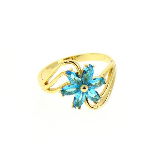 Copper Ring Rhinestone zirconium crystal golden with gold, CHARLOTTE