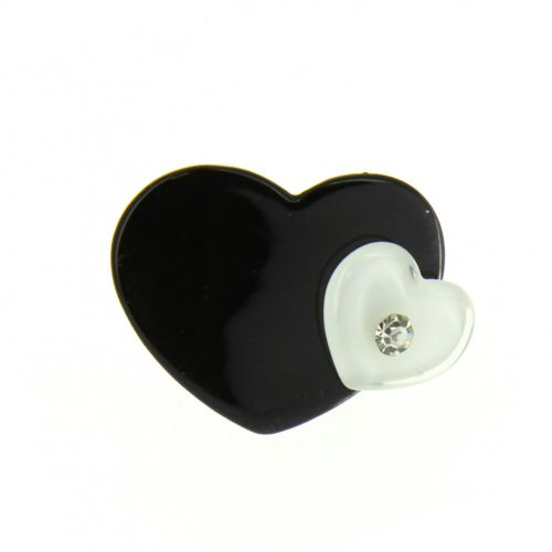 Bague coeur à strass Shirine Noir (Blanc) - 1701-34320