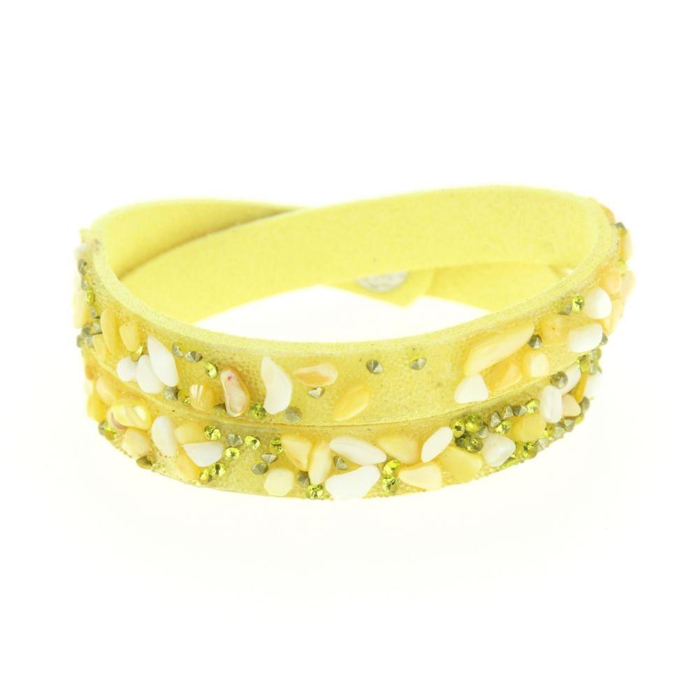 Bracelet wrap en pierre naturelle KIMMY Jaune - 10045-34344