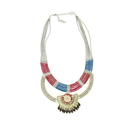 Collier perles bronze ASMINA Bleu - 10046-34394