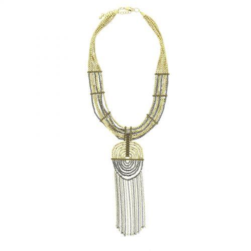 Collier fantaisie à perles d'hématites JULIA Doré - 10057-34500