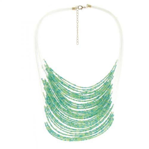 Collier perles ENORA Vert - 10068-34617