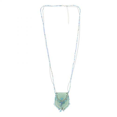 Sautoir sac et perles LAURE-SOPHIE