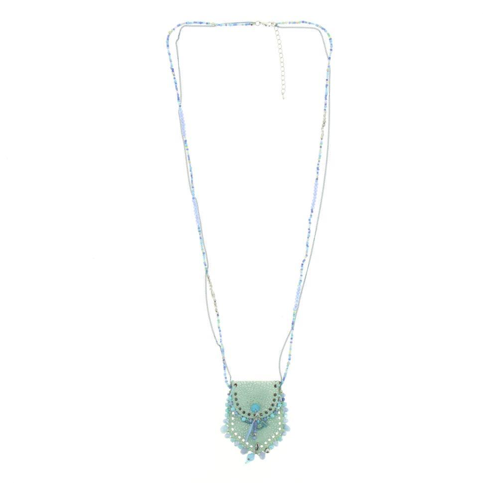Sautoir sac et perles LAURE-SOPHIE Vert - 10101-34924