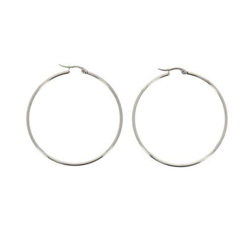 50mm rhodium Creole Earrings ROKIA