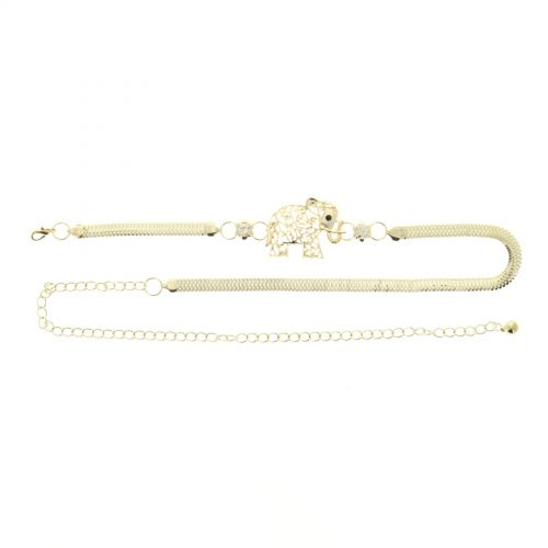 Woman's Lady Fashion Metal Chain Style Belt with Elephant, USTINA