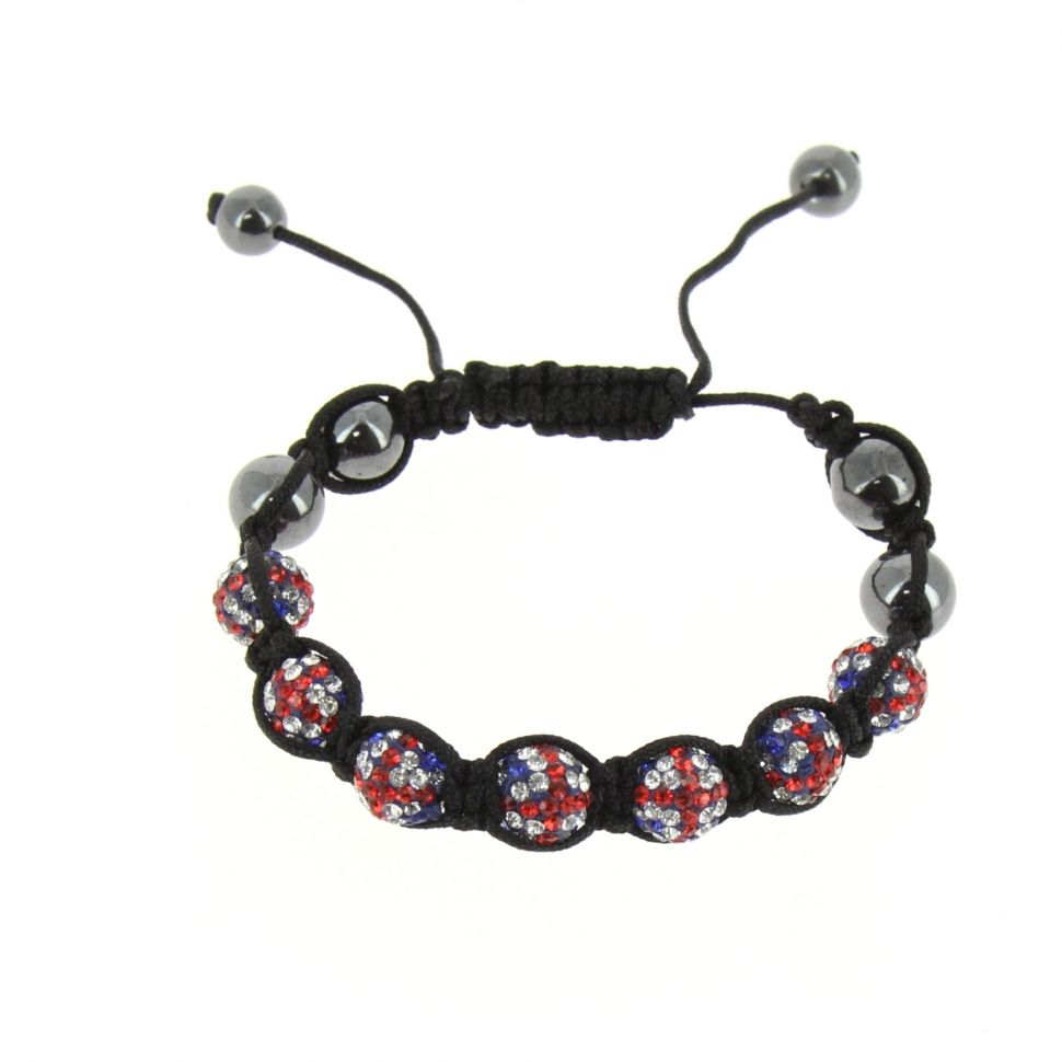 7 Pearl Shamballa Bracelet English Flag Abbie