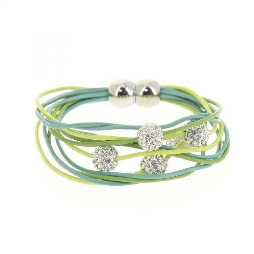 Bracelet aimanté cordons en cuir 5 disco ball Vert-Jaune - 3035-36217