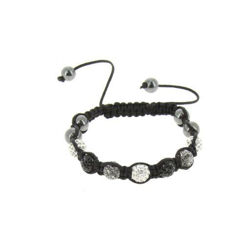 Bracelet shamballa à cristaux ultra fin et brillant Noir (Gris, Blanc) - 2068-36252