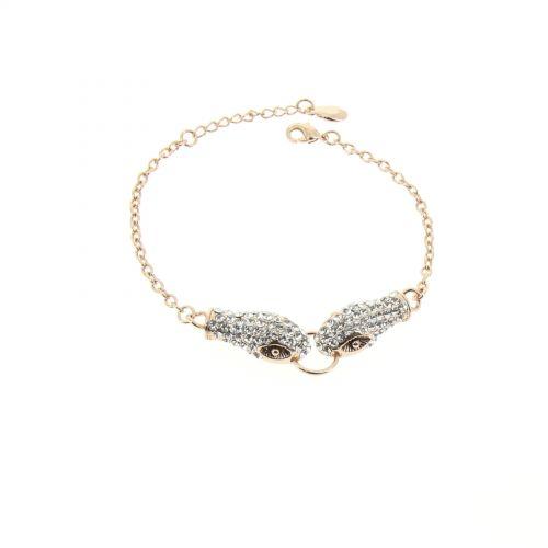 Damen armband aus Kupfer, Strass und Schlange, KATTIE