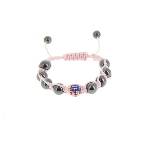 Bracelet shamballa Drapeau Americain Rose - 2546-36341