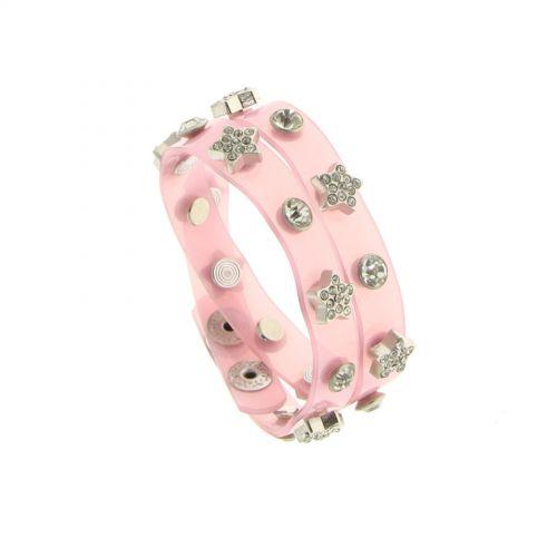 Bracelet double tours pvc Rose - 7255-36361
