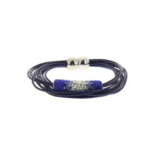 Bracelet en cuir, strass IRINA