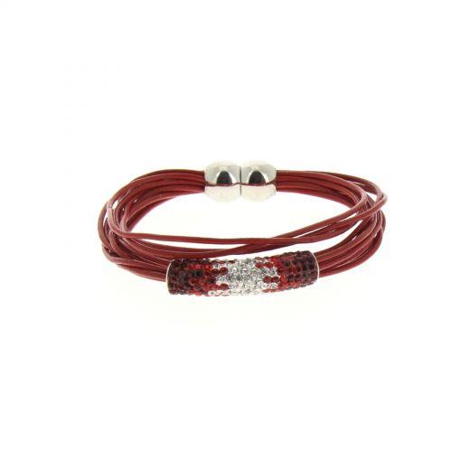 Bracelet aimanté, strass Rouge - 2179-36377
