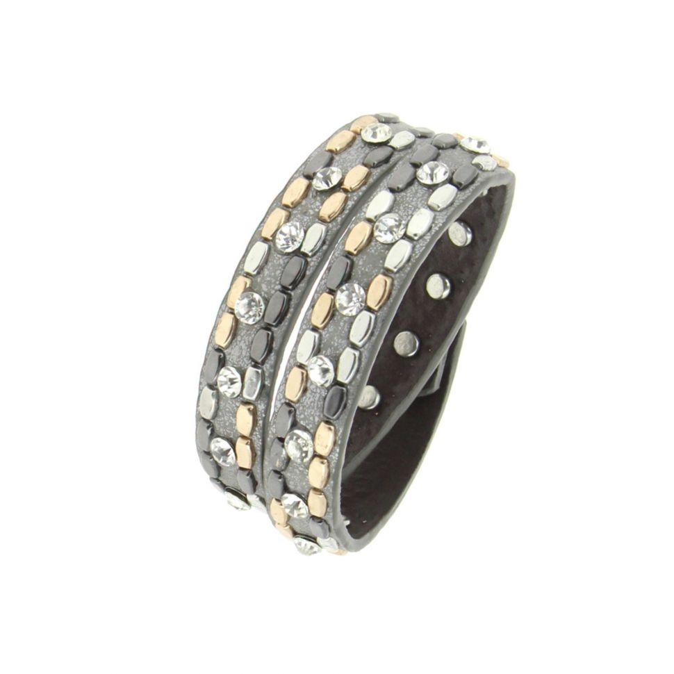 Bracelet wrap cloutés strass NAIKA Gris foncé - 9702-36385