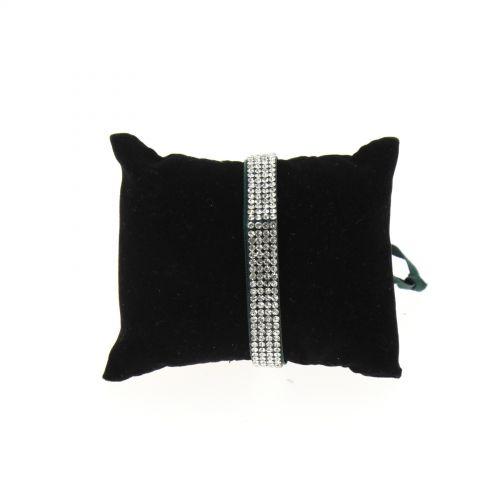 Bracelet ruban 4 rangées de strass Vert pin - 4881-36467