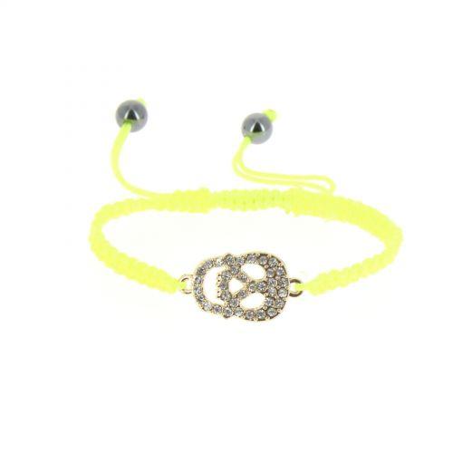 Bracelet shamballa tête de mort strass Jaune Fluo - 4699-36499