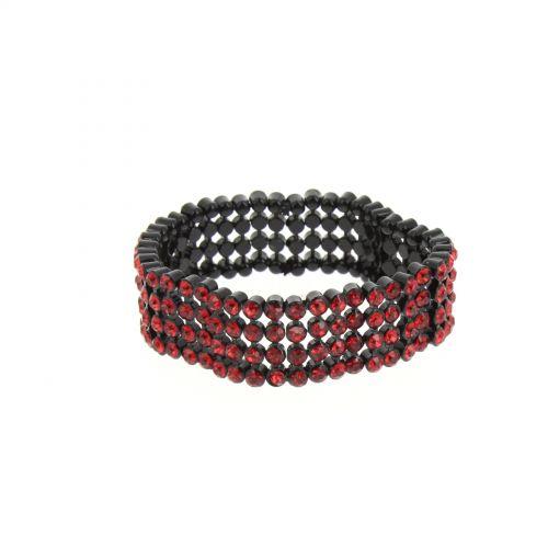 bracelet B044-2 strass de 4 rangées Rouge - 1774-36542