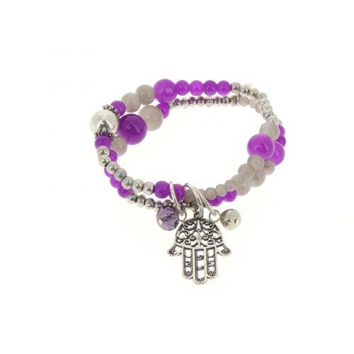 bracelet main de fatima en perles de verre Violet - 1792-36572