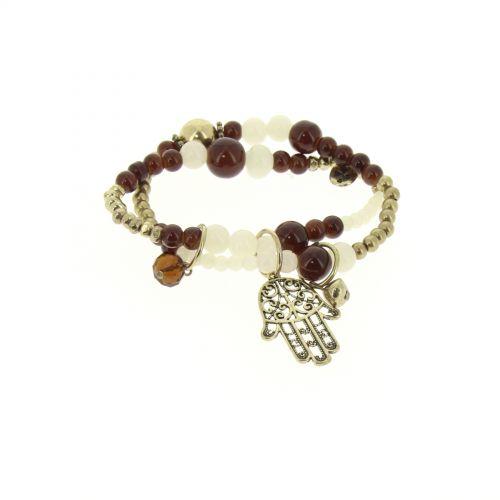 bracelet main de fatima en perles de verre Marron - 1792-36573