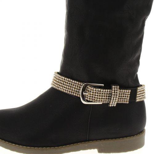 1 x Jewel boots avec boucles, 6 rows de strass, DH002 White