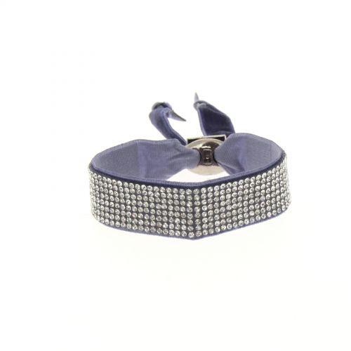 Bracelet ruban velour 8 rangées strass Bleu marine - 6460-36688