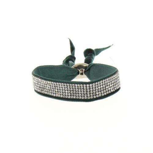 Bracelet strass et velour Vert - 6210-36703