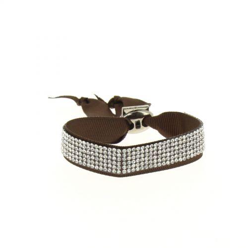 Bracelet ruban 6 rangées de strass Marron - 4890-36713