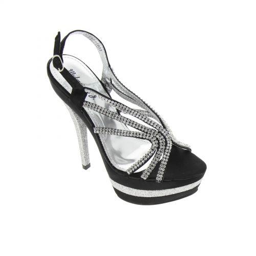 Chaussures de soirée satinées en toile de strass 5948