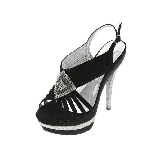 Chaussures de soirée satinées, losange de strass 5947 Noir - 5964-36882