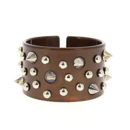 bracelet BOS-4, acrylique clouté de piques Marron - 1781-37057