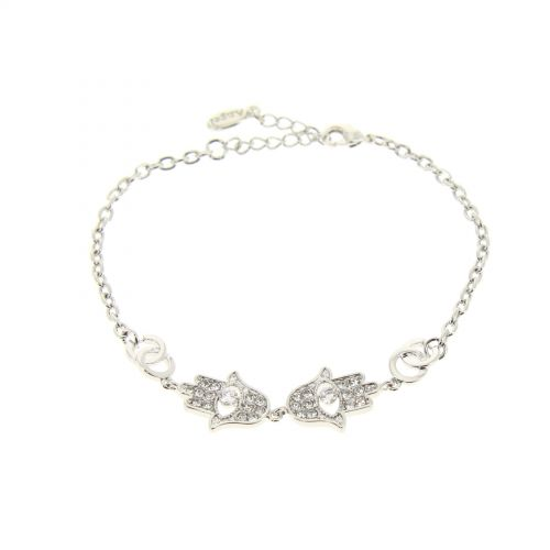 Bracelet Cubic Crystal Zirconia Adjustable Fatma Hand for Women and Girls, ROSE