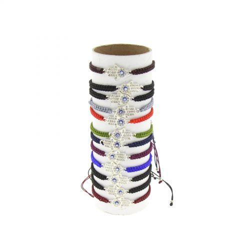 12 x bracelets Main de Fatima couleurs assortis ,BR58-707 Blanc - 8240-37081