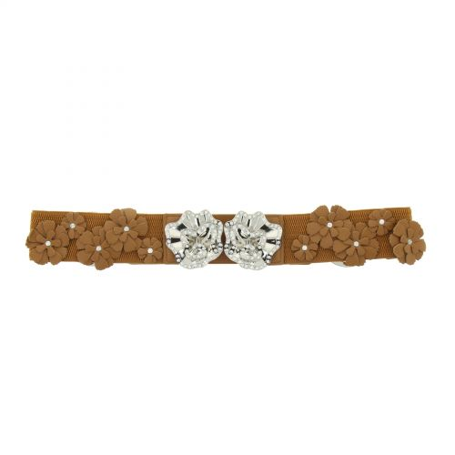 Strass and flower elastic waist belt