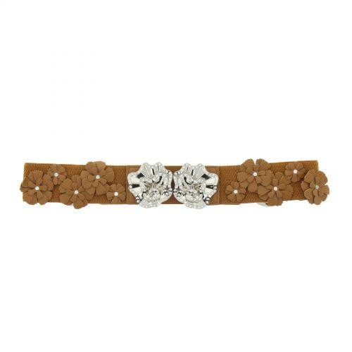 Strass and flower elastic waist belt