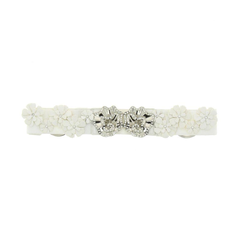 Ceinture élastique, Fleur et strass Blanc - 8559-37267