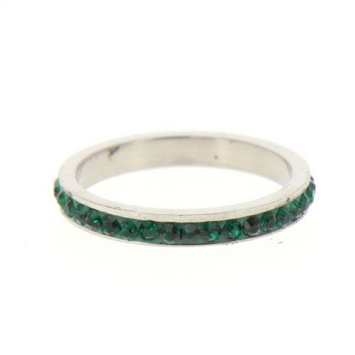 Ring Stainless Steem, Rhinestone Zirconia Green