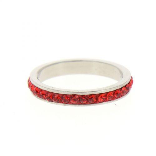 Ring Stainless Steem, Rhinestone Zirconia Red