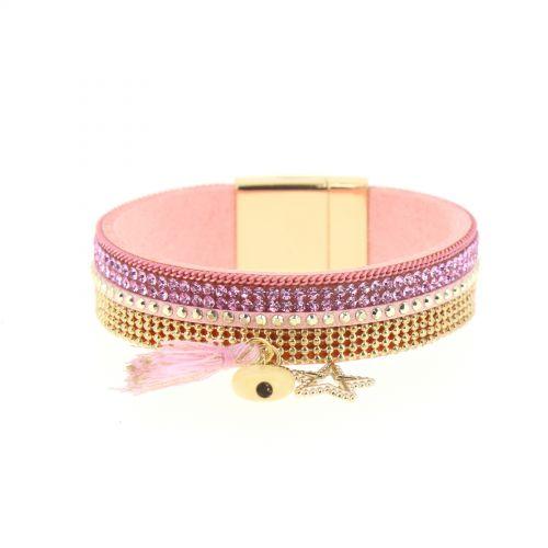 Rhinestones charms bracelet OCEA Pink - 9957-37653