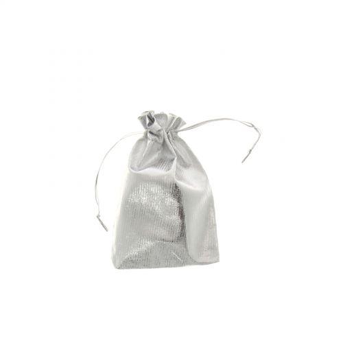 100 x Sachets d'emballage cadeaux tissus argenté 95/150